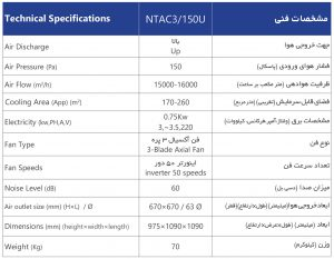 NTA3-150U-مشخصات-فنی-سوپر-کولر-سلولزی-پلیمری-بالازن-نیرو-تهویه-البرز